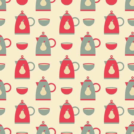 kettle and bowl pattern Vector