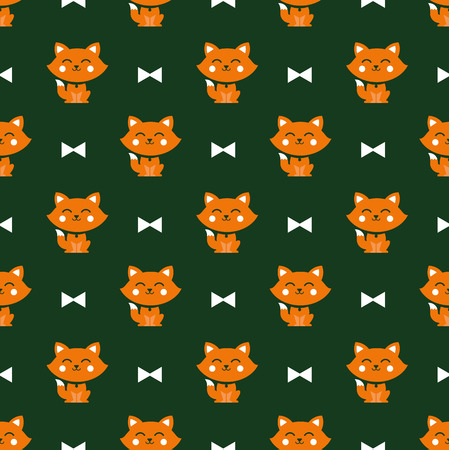 Seamless pattern with cats and ribbons vector background