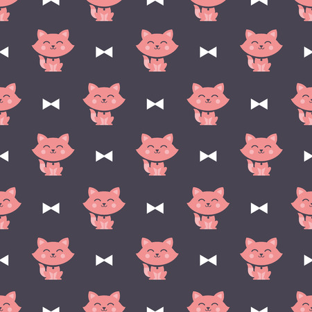 wandering: cats and ribbons pattern Illustration