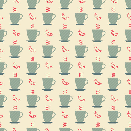puff pastry: cup of coffee and croissant pattern Illustration
