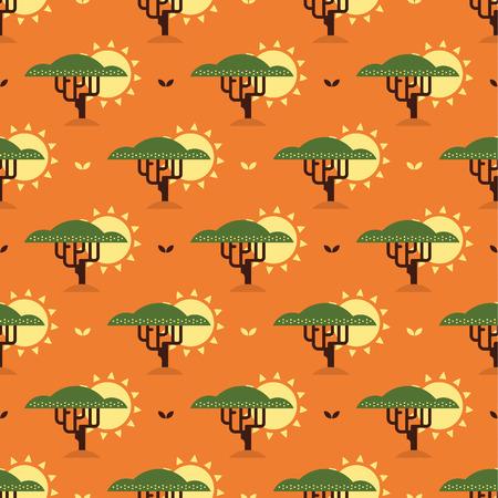 baobab: baobab tree and sun pattern
