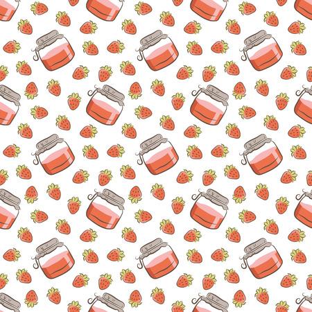 jams: jar of jam and strawberries pattern Illustration
