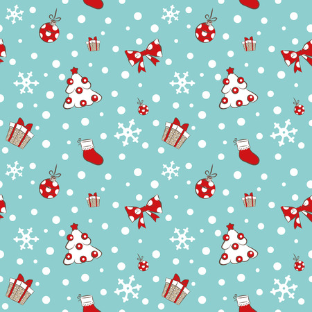 Seamless pattern with Christmas tree and gifts vector background Vector