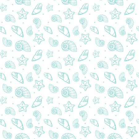 Seamless pattern with sea shells vector background