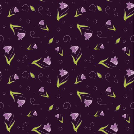campanula: Seamless pattern with campanula flower vector background