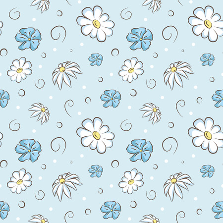 camomile flower: Seamless pattern with camomile flower vector background