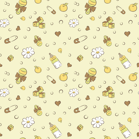 rattles: Seamless pattern with rattles and pacifiers cubes vector background Illustration