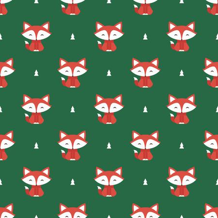 zorro: Patrón sin fisuras con el zorro y el árbol de vectores de fondo
