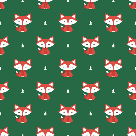 fox: Seamless pattern with fox and tree vector background