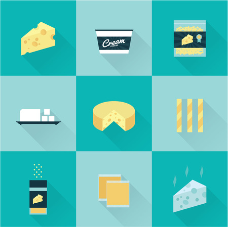 cheese: all cheese types icon set