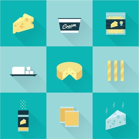 queso de cabra: todo listo tipos de queso icono Vectores