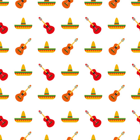 Mexican sombrero and guitar pattern Illustration
