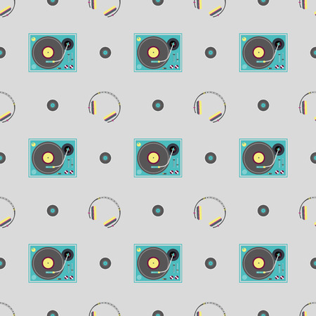 dance floor: DJ booth and headphone pattern Illustration
