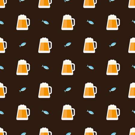 fish scales: glasses of beer and fish pattern