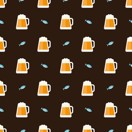 escamas de peces: vasos de cerveza y peces patrón Vectores