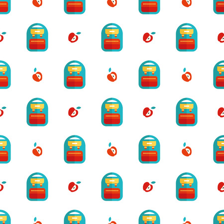 classmate: backpack and apple pattern