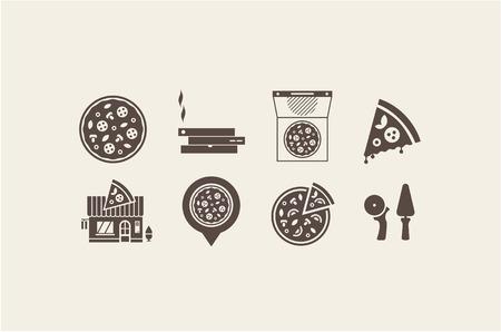 caja de pizza: Iconos de la pizza