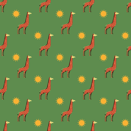 cloven: giraffes and sun pattern Illustration
