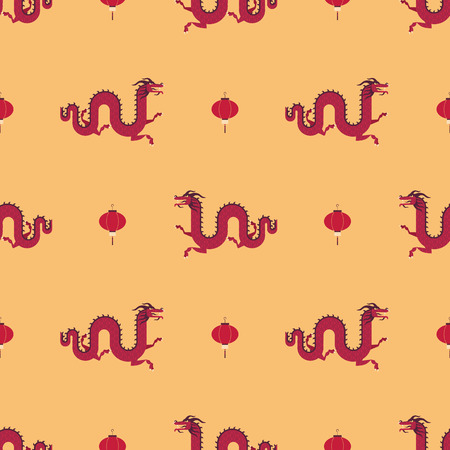 Chinese dragons and lanterns pattern Vector