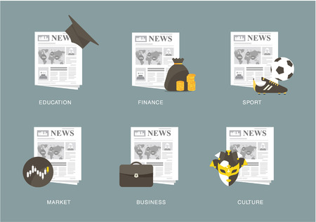 univercity: newspaper icon set Illustration