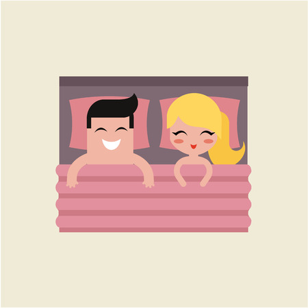sex on bed: couple in bed man and woman vector illustration