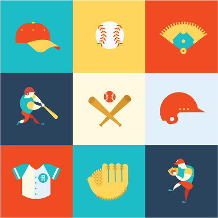 wooden shoes: baseball flat icons vector modern style illustration
