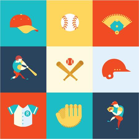 baseball: iconos planos de béisbol vector ilustración de estilo moderno Vectores