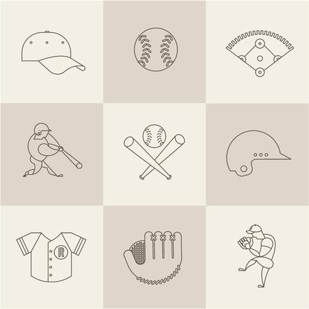 inning: baseball flat icons vector modern style illustration