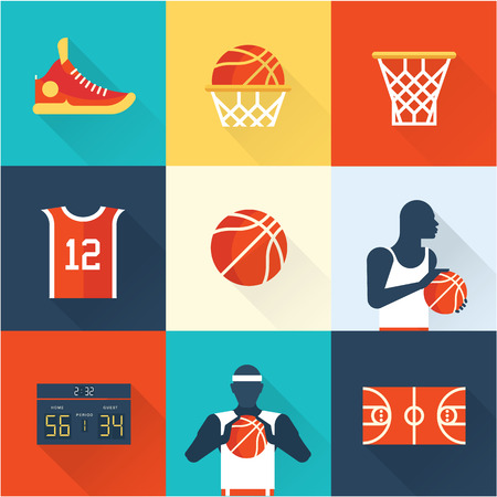 hoop: basketball icons vlat style modern vector illustration set