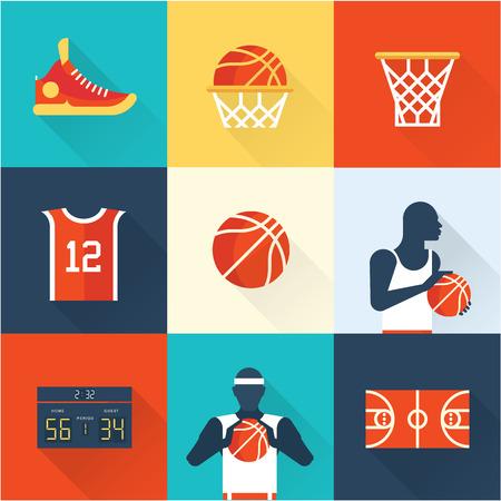 cancha de basquetbol: iconos de baloncesto VLAT vector del estilo moderno conjunto de ilustraci�n Vectores