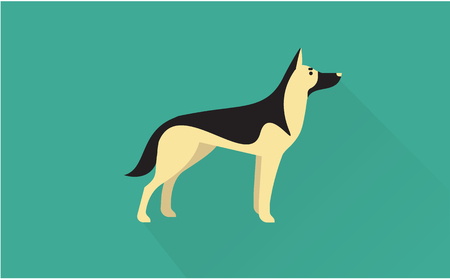 cute dog: german shepherd vector flat illustration clean and simple style Illustration