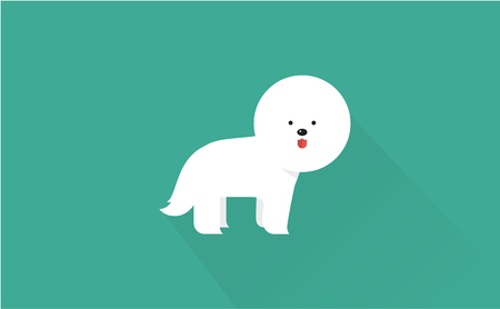 frise: bichon frise vector flat illustration clean and simple style Illustration