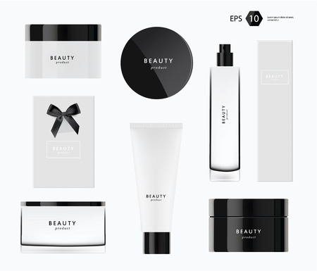 black: beauty producs vector template modern package design Illustration