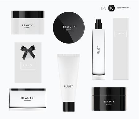 preto: producs beleza design de embalagem vetor moderno Ilustração