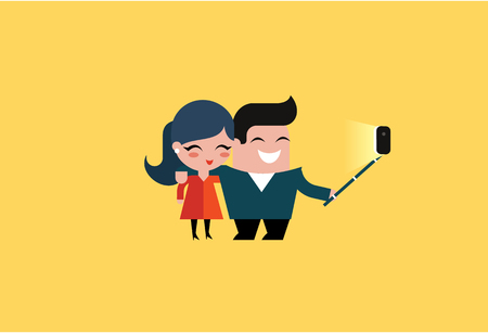 full length portrait: vector couple making a selfie flat illustration Illustration