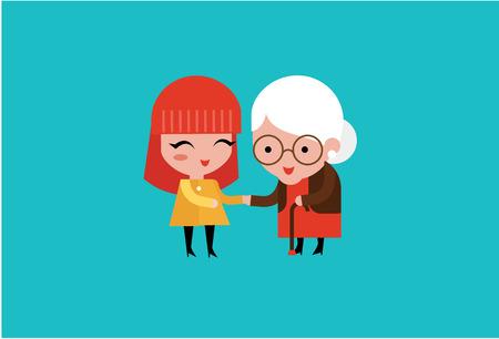 jonge vrijwilliger vrouw zorg voor bejaarde vrouw illustratie Vector Illustratie