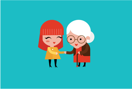 an elderly person: young volunteer woman caring for elderly woman illustration Illustration
