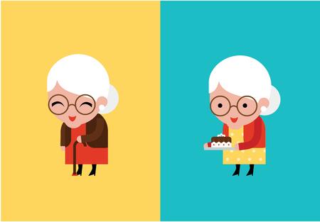 grandmother: cute grandmother vector illustration flat modern style