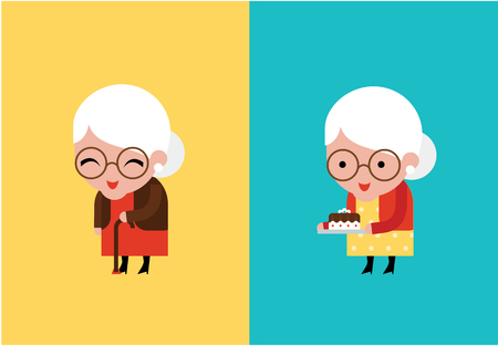 abuela: linda abuela ilustraci�n vectorial estilo plano moderno Vectores