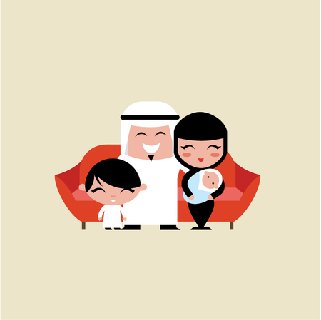 happy young muslim family vector flat illustration Illustration
