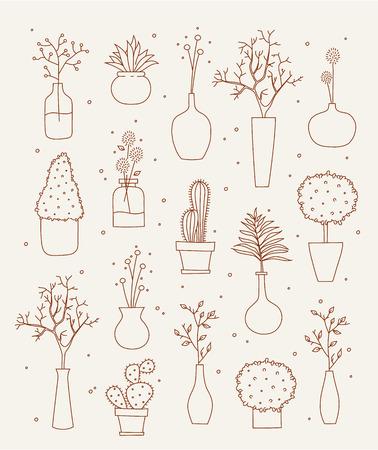 greek pot: Doodle vasi e design illustrazione vettoriale fiore