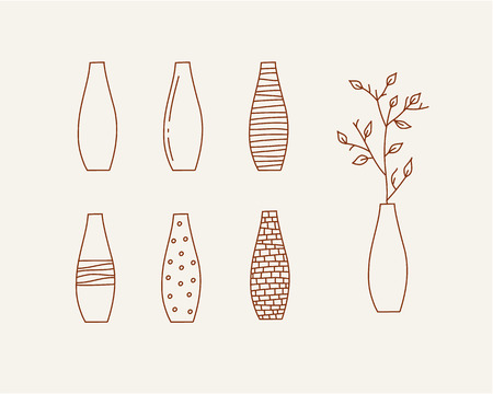 office icon: Doodle vases and flower design vector illustration