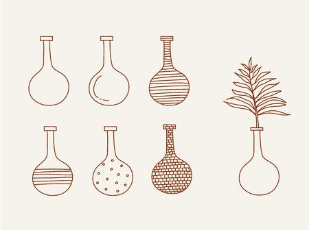 greek pot: Doodle vases and flower design vector illustration