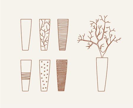 modern illustration: Doodle vases and flower design vector illustration