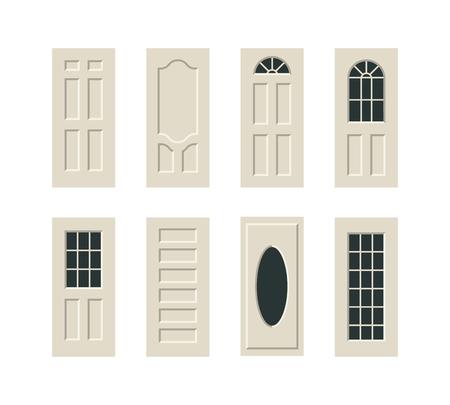 white door: vector doors flat modern illustration icon set