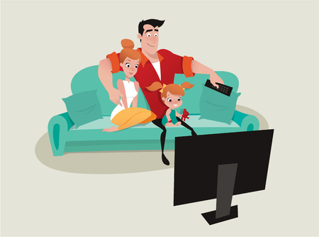 A family relaxing on the sofa watching tv.