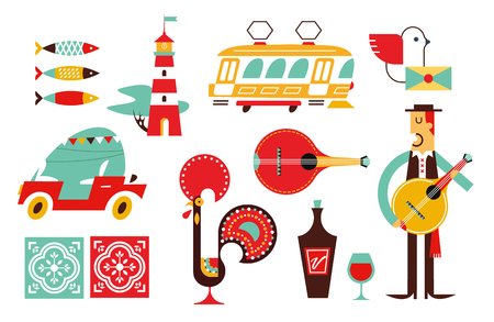 Portugal vector icon set flat simple modern style  イラスト・ベクター素材