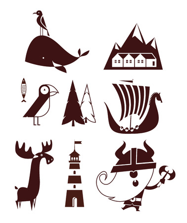 Norway flat vector simple travel style icons Banque d'images - 126344591