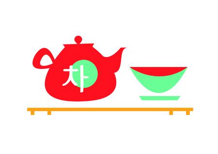 vector illustration asian tea flat style on white background