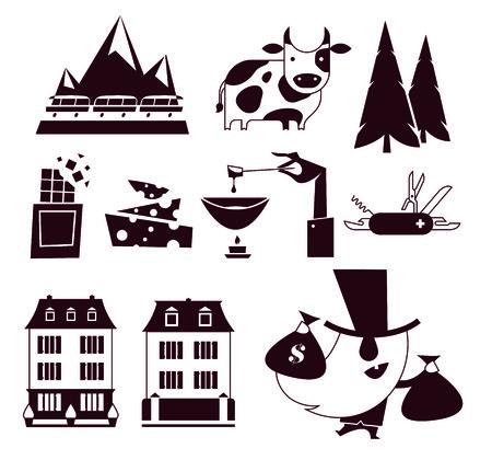 switzerland vector flat modern icon set white background